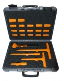 """130S01 22 Piece 1/2"""" Insulated Socket Set 1000V with T Bar Lever, Reversible Ratchet and Hex Drive sizes 8-24mm"""