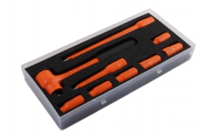"""130S03 9 Piece 1/2"""" Insulated Socket Set 1000V, Reversible Ratchet and 9-18mm Hex Sockets"""